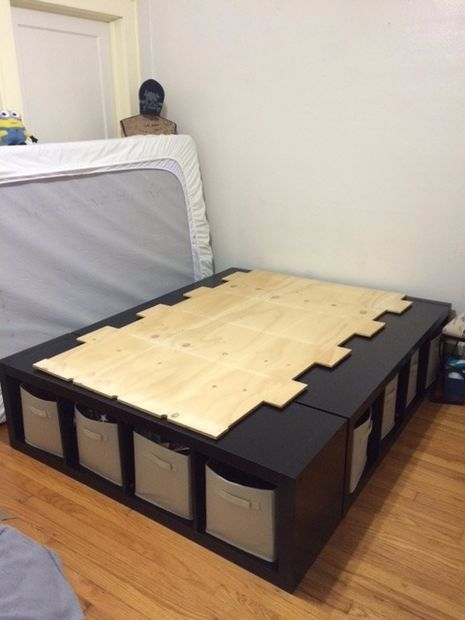 Storage Box Shelf Unit Made Into Bed Frame