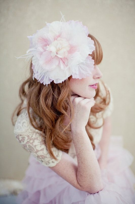 Wedding Hair Flowers Pink : Bridal hair flower birdcage veil pink clip