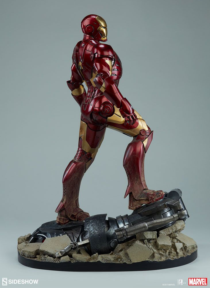 The Iron Man Mark III Maquette is available at Sideshow.com for fans of Marvel's Iron Man Movie, Tony Stark, and Robert Downey Jr.