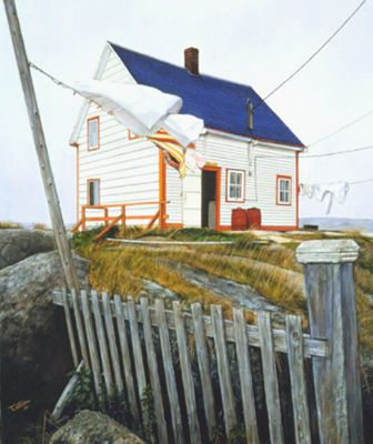 "Newfoundland Art - Barry Penton ""Bonavista Breeze"" As we would say ""Some day on da clothes"" in other words it was a great day outside for the clothes to dry well."