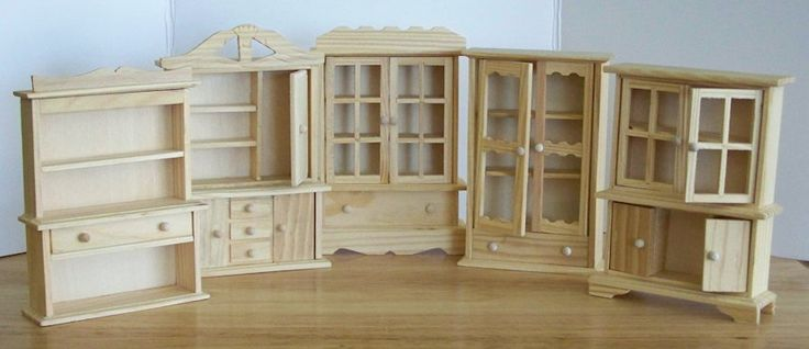 Some of the different styles available at Michaels   Michaels Crafts sells these miniature hutches made from unfinished wood for only $1...