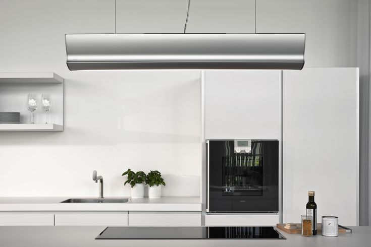 The combination of the extractor and integrated light strip can be positioned anywhere in the room.