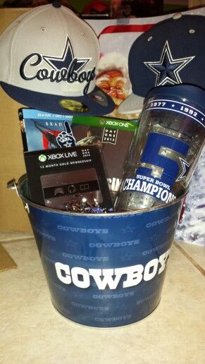 The 25 best gift baskets for boyfriend ideas on pinterest gift basket for boyfriend for christmas filled with things he likes dallas cowboys negle Images