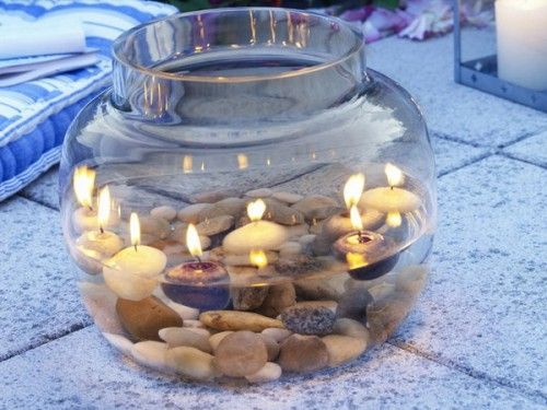 candles for the patioDecor, Lights, Ideas, Floating Candles, Rivers Rocks, Candles Centerpieces, Outdoor Tables, Pools Parties, Goldfish Bowls