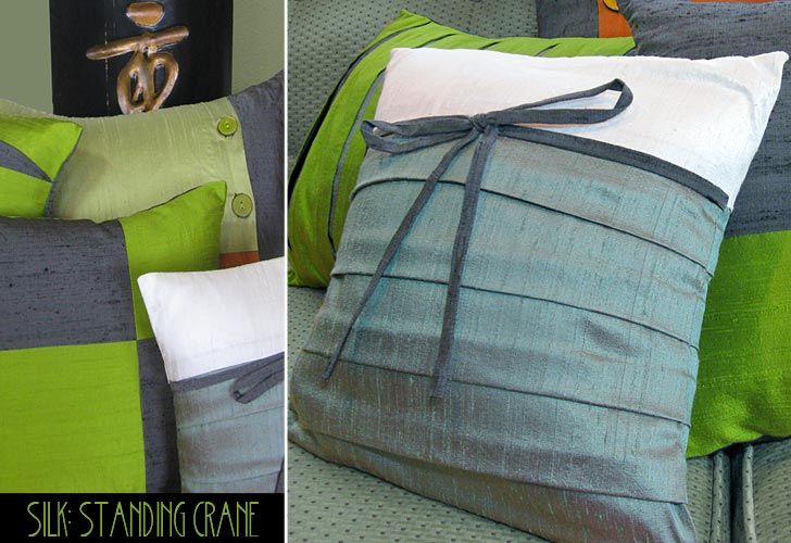 Silk Color Block Pillows-Standing Crane: Cascading Bottom Pleats with Bow Accent. Tutorial: http://sew4home.com/projects/pillows-cushions/785-silk-color-block-pillows-standing-crane-cascading-bottom-pleats-with-bow-accent