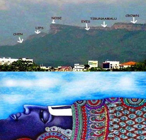 Lord Venkateswara's Face Formation on Tirumala Hill (via Tirumala Tirupathi LORD Venkateswara)