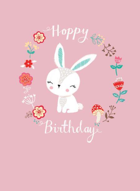 Louise Anglicas - LAS Woodland Rabbit Butterfly Mushroom Flowers Hoppy Birthday