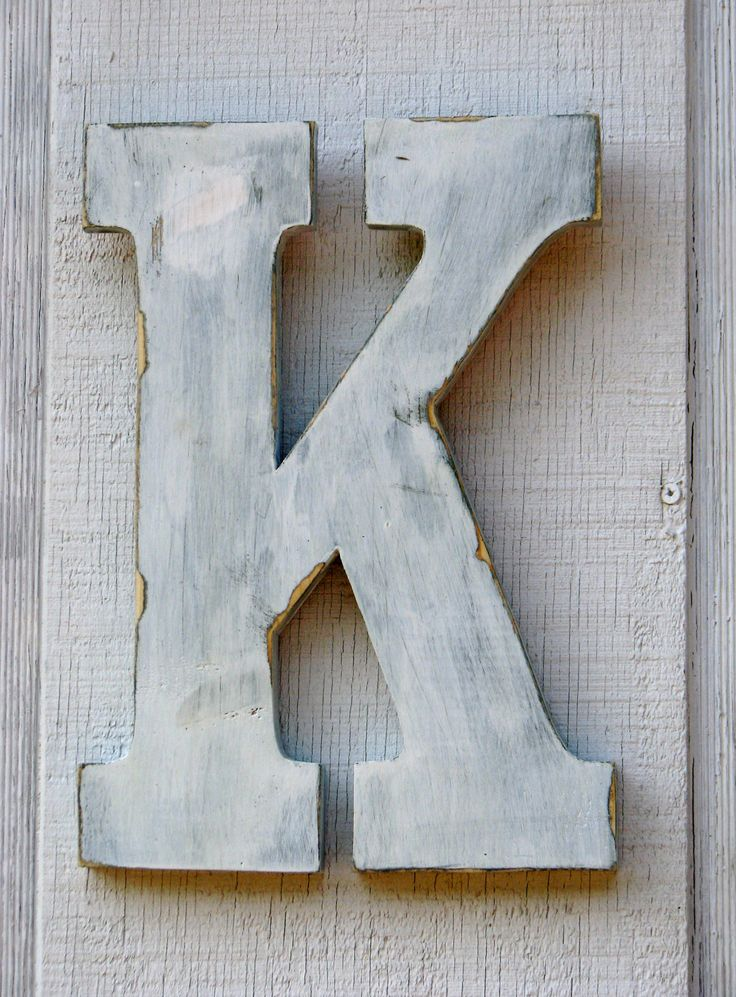 """Rustic Wooden Letter K Distressed Painted White,12"""" tall Wood Name Letters $20.00, via Etsy."""
