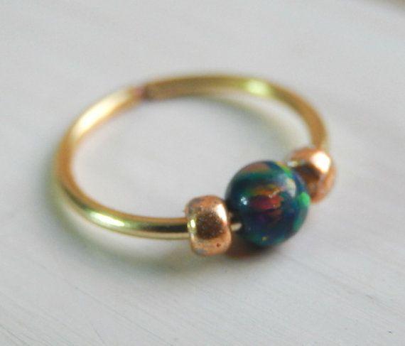 Black Opal 20  22 Gauge Nose Hoop Nose Ring  by LarryJewelryShop                                                                                                                                                                                 More