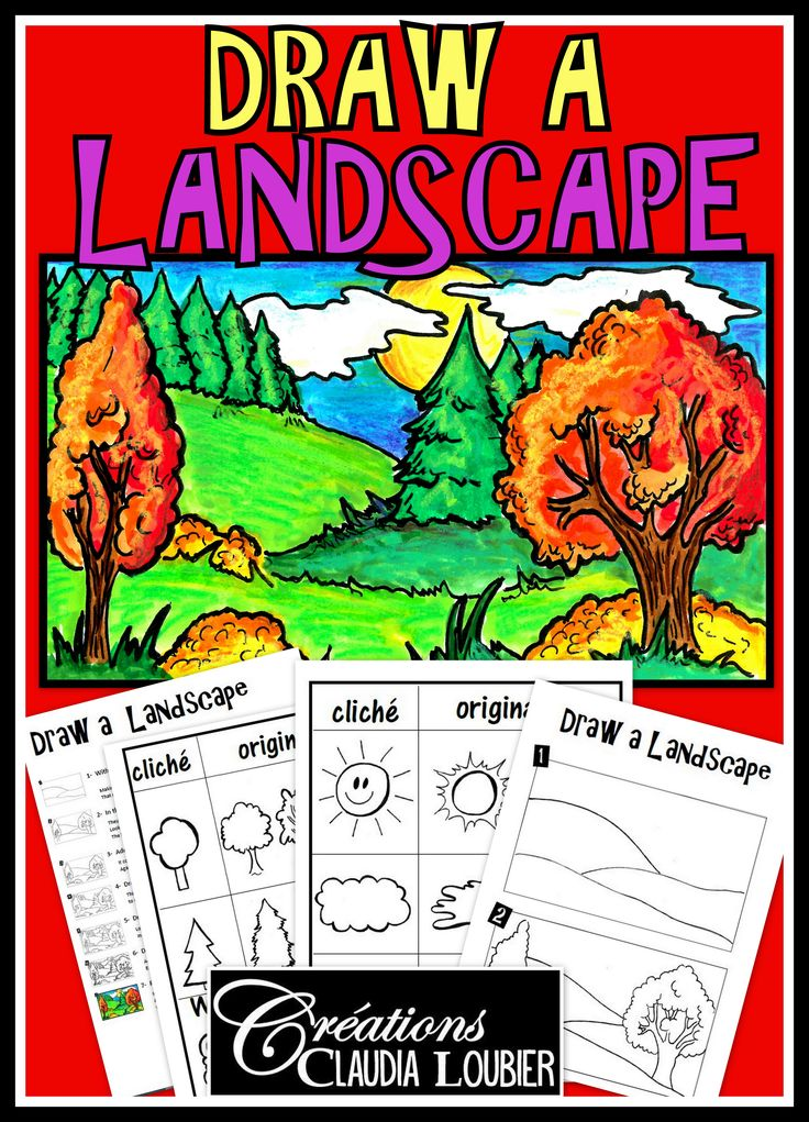 Here is a workshop for Grades 3 to 6 which will help guide your students through the creation of a landscape.  There are many steps to understand perspective with overlapping and depth.  This is only a workshop and not a project that requires a lot of materials.  Having coloured pencil crayons and a regular pencil with be enough.  You can use this document as an enrichment project, or before making a project that requires a landscape.