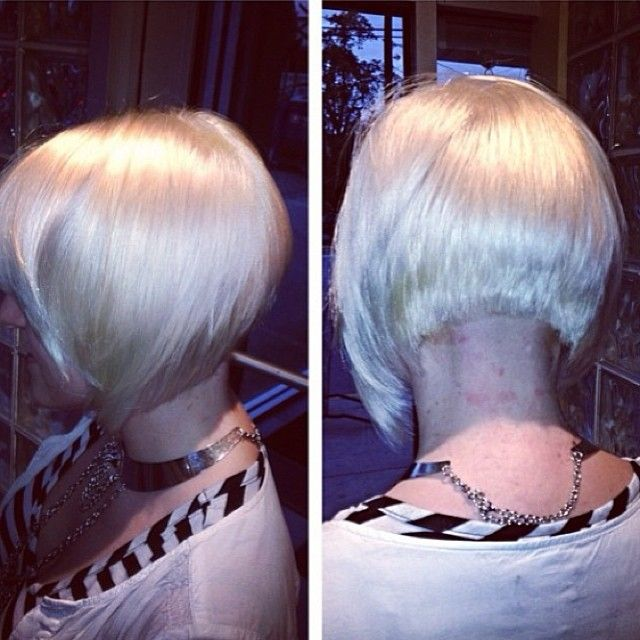 Just look at the cut not the neck! More like this at the back, and under layered at the front. Either blunt fringe or long sweep fringe if it's too scary