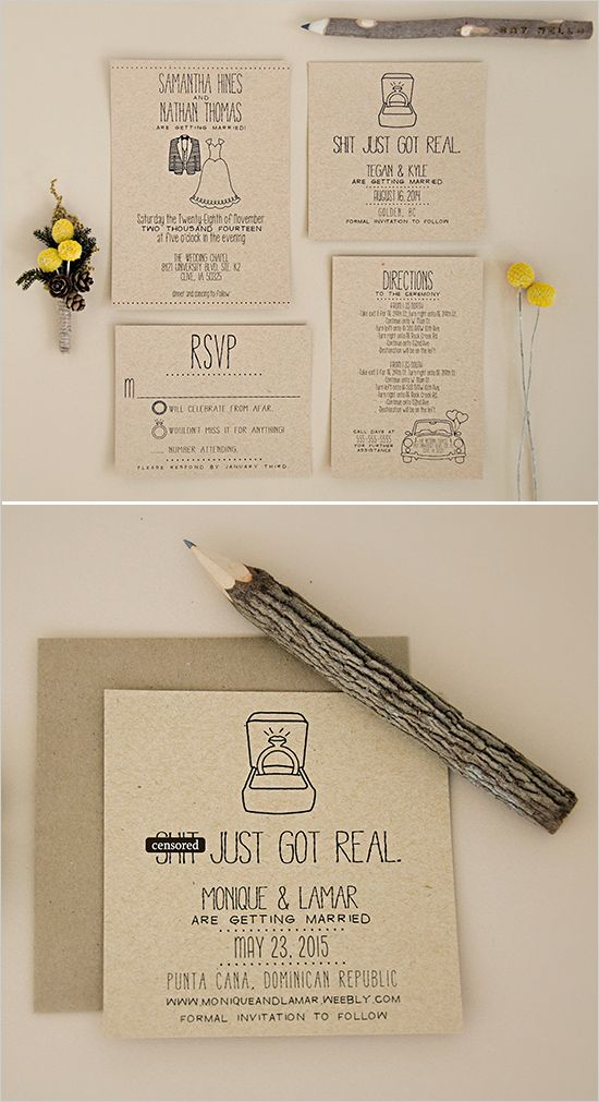Add a touch of funny to your wedding invites! http://www.weddingchicks.com/2014/06/24/wedding-paper-giveaway/