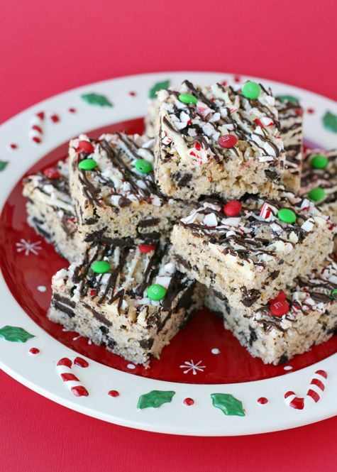 Peppermint Oreo Krispie Treats - by Glorious Treats
