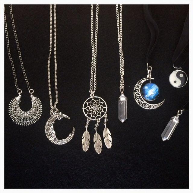 Handmade necklaces: dream catcher, crescent moon, quartz crystals, yin yang,