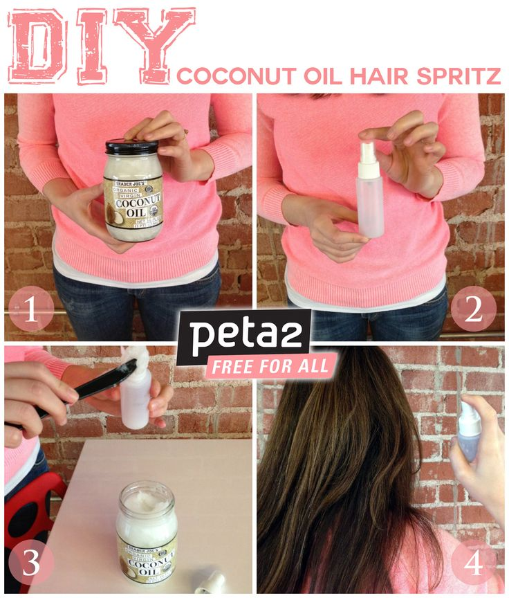 Make this easy Coconut Oil Hair Spray for soft, shiny, healthy hair! How to here: http://www.peta2.com/lifestyle/diy-coconut-oil-hair-spritz/?utm_campaign=0413%20DIY%20Coconut%20Oil%20Hair%20Spritz%20_source=peta2%20Pinterest_medium=Promo