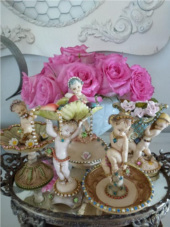 Bejeweled Vintage  Cherub Set Rare Collectibles Antique Vintage Italy Swarovski Set of 5-cherub, bejeweled,vintage Italy
