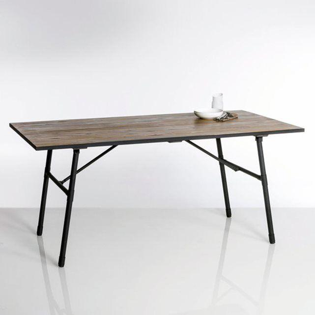 Table de jardin pliante bois et métal Sohan La Redoute Interieurs