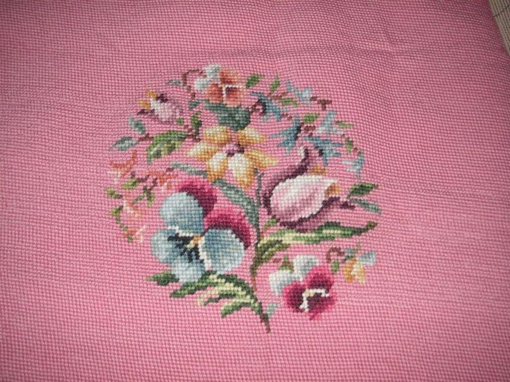 VINTAGE COMPLETED BUCILLA HAND STITCHED NEEDLEPOINT FLORAL FOR CHAIR PILLOW ART #Bucilla