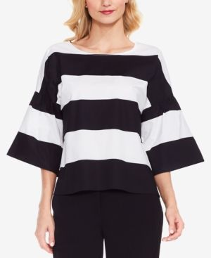Vince Camuto Striped Wide-Sleeve Top - Black XXS