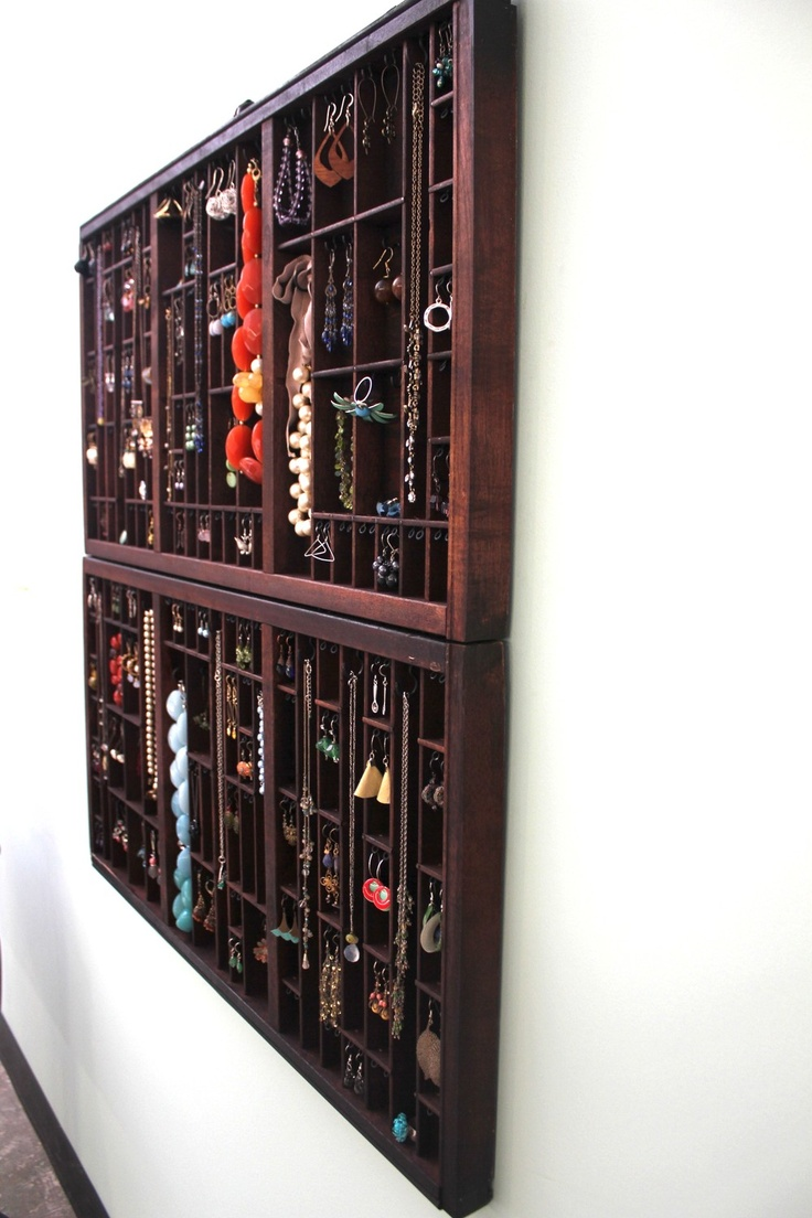 letterpress drawer converted into jewelry storage