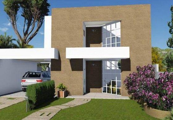 Fachada de casa de dos pisos moderna y económica
