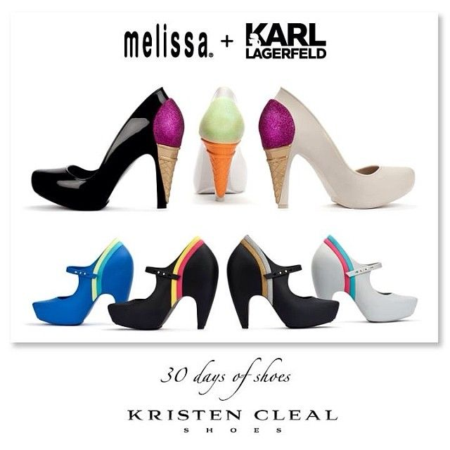 KARL X MELISSA KOLLABORATION! SHOE #25 of 30- Karl Lagerfeld + Melissa Australia & M Dreams, Ginger & Incense Shoes 2013. Lagerfeld has translated couture into an affordable shoe line making his brand more accessible for all. For more info on these babies please visit us on Facebook at Kristen Cleal Shoes! #kristenclealshoes #shoes #melissashoes #karllagerfeld #shoeoftheday #style #fashion #kittenheel #shopping #asos #fun #icecreamshoes #gingershoe #incenseshoe