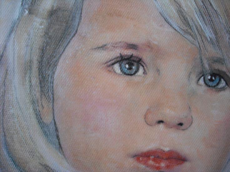 "Detalle de un retrato de niña, ""Inma"" 2014,técnica mixta,lienzo sobre tabla,80 x 60 cm"