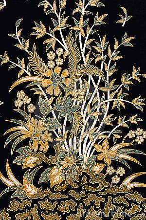 black, soft greens & gold   Indonesian Batik Sarong