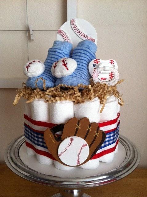 Red, White and Blue Baseball Mini #Diaper #Cake - #BabyShower Gift, Single Tier. $30.00, via Etsy.