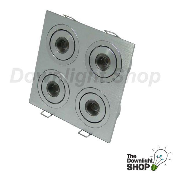 Power Puk Warm White LED downlight, Brushed aluminium 4 x 2 way Tilt adjustable - $216.99 SAVE: 17% OFF
