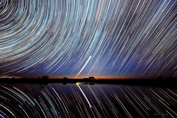 Amateur astronomer Alex Cherney captured these star trails as they blazed above Lake Tyrrell, a salt lake in Victoria, Australia in October 2011 and posted to The World At Night website December 25, 2012
