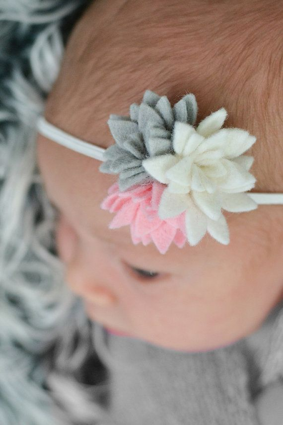 Pink Grey White Felt Flower Headband Pink Felt by KuggaKIDS, $7.50