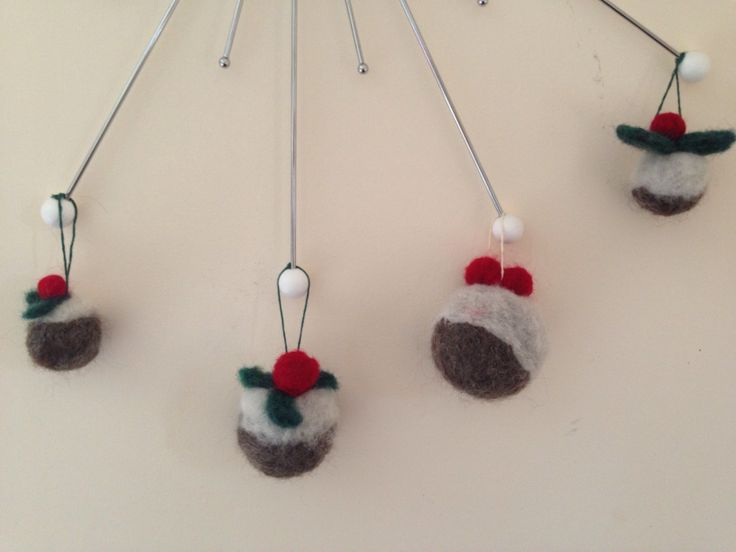 Various Needle Felted Christmas Puddings