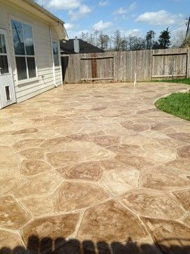 Flagstone Stamped Concrete Patio - traditional - patio - houston - Western Patio Company