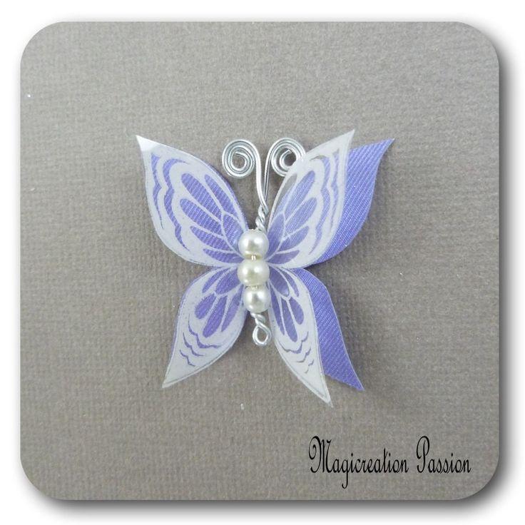 papillon 3.5 cm double ailes soie violet transparent blanc - Ysatis : Décoration d'intérieur par les-tiroirs-de-magicreation-passion