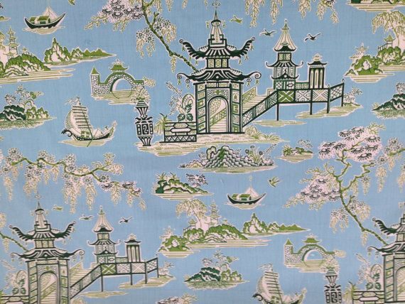 Peaceful Temple Asian Drapery Fabric  Fabric By The Yard