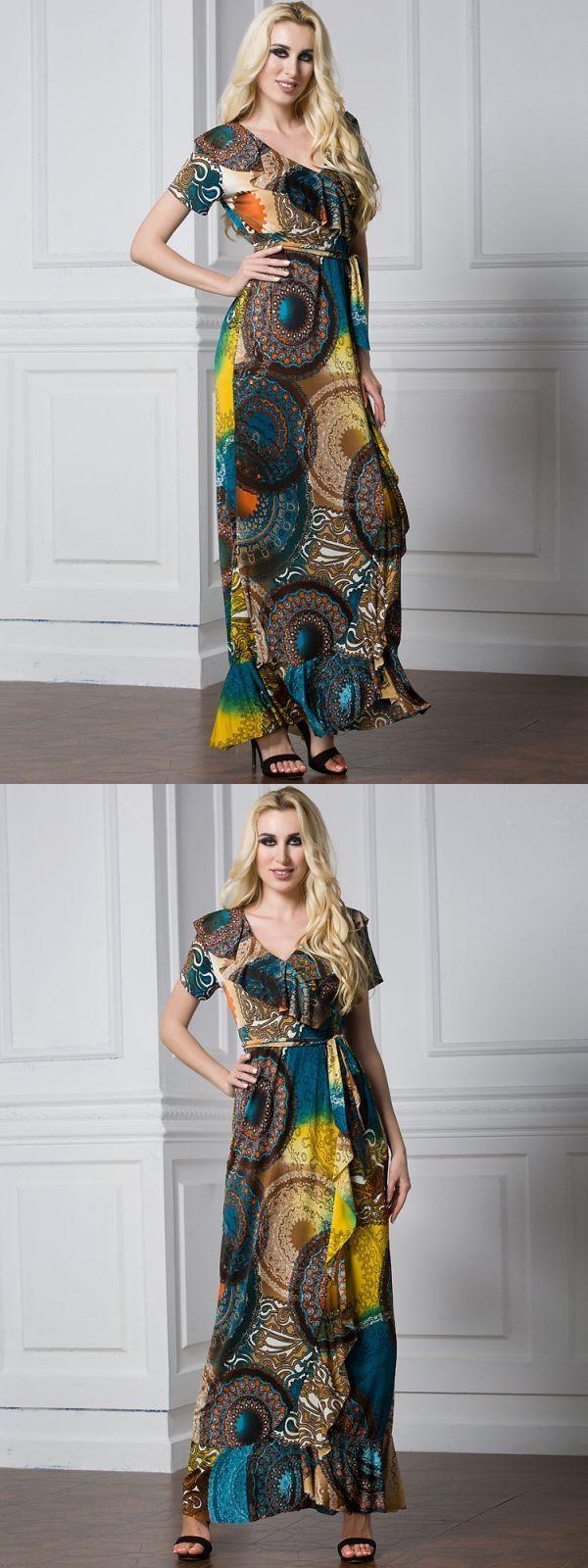 Maxi dresses in winter bohemian women ruffle v-neck printing short sleeve beach party maxi dress #famp;f #maxi #dresses #maxi #dresses #5 #pounds #maxi #dresses #kohls #juniors #maxi #dresses #too #long
