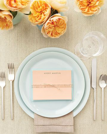 Custom notecard favors double as place cards for bridal shower.