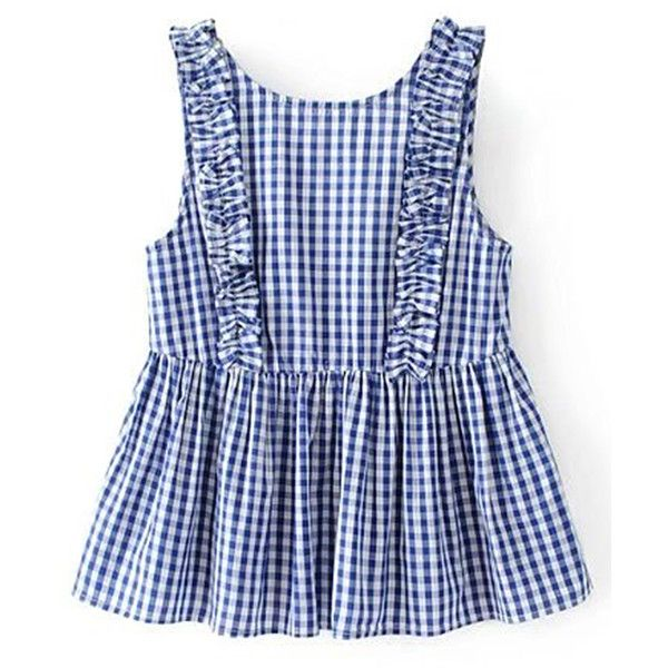 Frill Trim Gingham Sleeveless Top (€15) via Polyvore featuring tops, blue, blue top, sleeveless tops, ruffle sleeve top, frill top y embellished top
