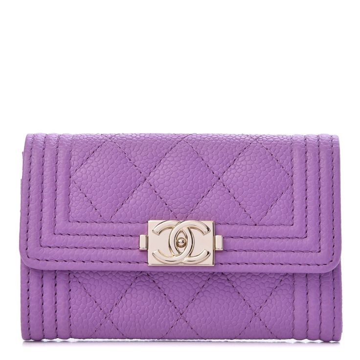 Chanel caviar quilted boy flap card holder purple in 2020