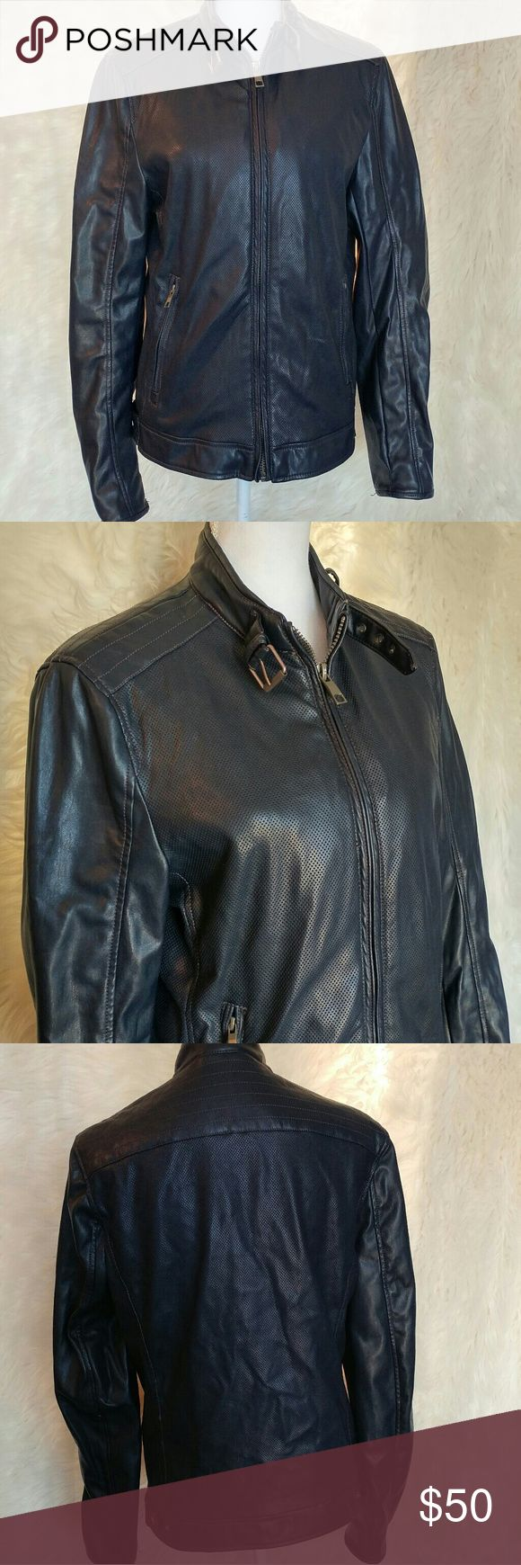 """Zara Man faux leather moto jacket Excellent pre owned condition Zara jacket for men Size medium Zipper down front Zipper pockets inside and outside of jacket Buckle detail on neck Perforated style front and back Slim fit  Pit to pit 20""""  Length 26"""" Sleeves 27""""  Shoulders 16.5"""" Zara Jackets & Coats"""