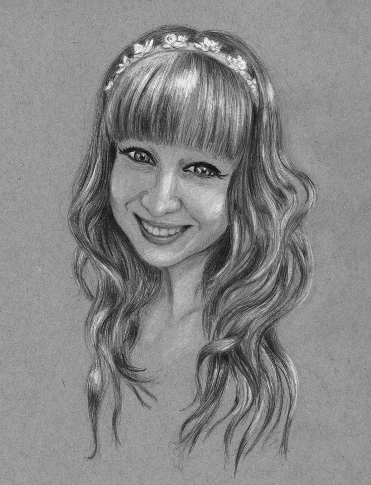 raisedbyothers - girl in hairband - graphite and chalk on toned paper.