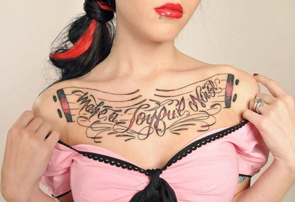 Chest-Tattoo-for-Women - 65 Nice Chest Tattoo Ideas  <3 <3