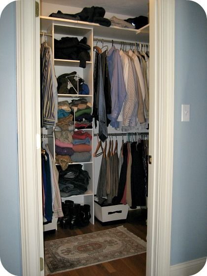 Small walk in closet diy walk in closet pinterest for Small walk in closet organization