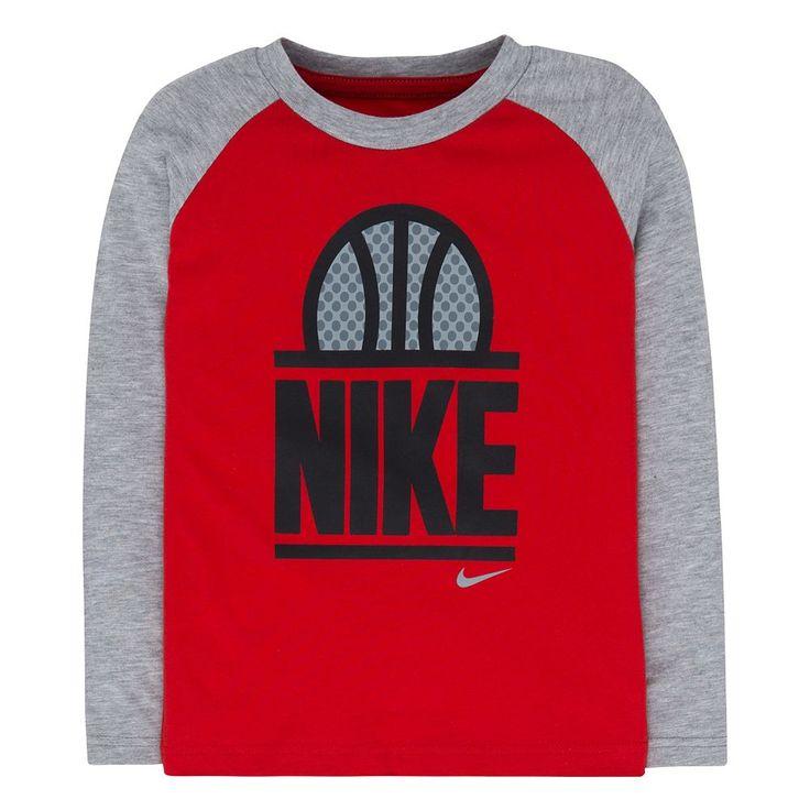 Boys 4-7 Nike World of B-Ball Raglan Long Sleeve Tee, Size: 4, Brt Red