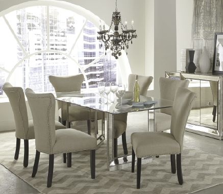 An antique mirrored base makes this dining room set shine:  Boards, Mirror Dining, Dining Room Furniture, Sophia Mirror, Dining Rooms Furniture, Furniture Collection, Shops, Macy'S, Dining Tables