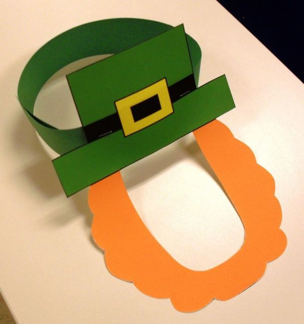 Included are a colored mask and an outline of a mask for students to color themselves.  Print the mask on construction paper or cardstock, cut it out, then attach it to a sentence strip (or stapled strips of paper) around the child's head.   You can have a classroom full of leprechauns for St. Patrick's Day!