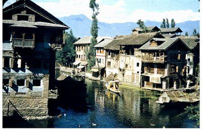 Houses along Mar canal Srinagar Jammu and Kashmir 1950s.
