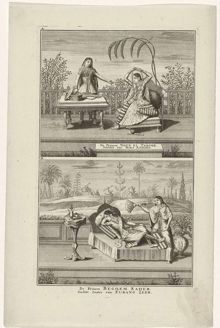 Jan Lamsvelt | De prinsessen Noer El Tadjoe en Begquem Saheb, Jan Lamsvelt, 1724 - 1726 | Oosterse prinsessen in rijke kledij. Boven: Prinses Noer El Tadjoe hangt een ketting om die een dienares haar aanreikt. Onder: Prinses Begquem Saheb lig te rusten, een dienares wuift haar koelte toe. Twee voorstellingen van één plaat, respectievelijk gemerkt: A en B.
