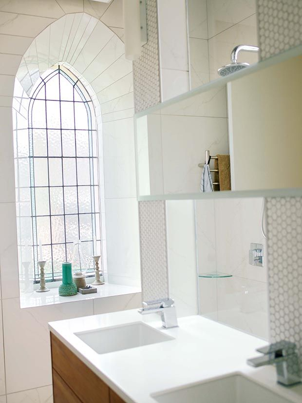 #renovation #design #sleek #tiles #craftsmanship #steepledwindow #churchconversion #masterbathroom #doublesink #clean #dreamhome #home #holiday #cromwell #newzealand #thisNZlife